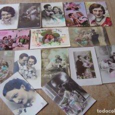 Fotografía antigua: LOTE DE TARJETAS POSTALES ANTIGUAS, COLOREADAS.. Lote 199042051