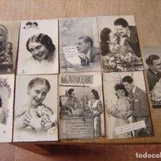 Fotografía antigua: LOTE DE TARJETAS POSTALES ANTIGUAS DE ENAMORADOS EN B/N.. Lote 199045787