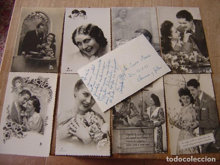 Fotografía antigua: LOTE DE TARJETAS POSTALES ANTIGUAS DE ENAMORADOS EN B/N. - Foto 2 - 199045787
