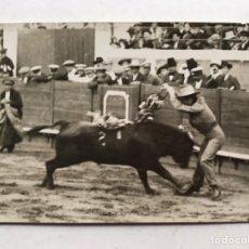 Fotografía antigua: LA REAL MAESTRANZA (SEVILLA) PLAZA DE TOROS, CONCURSO DE BANDERILLEROS.. FOTO: J. SERRANO (H.1940?). Lote 207094200