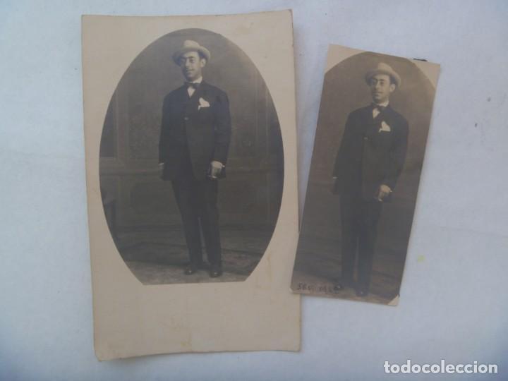 LOTE DE 2 FOTOS DE ESTUDIO DE SEÑOR ELEGANTE CON SOMBRERO. SEVILLA, 1922 (Fotografía Antigua - Tarjeta Postal)