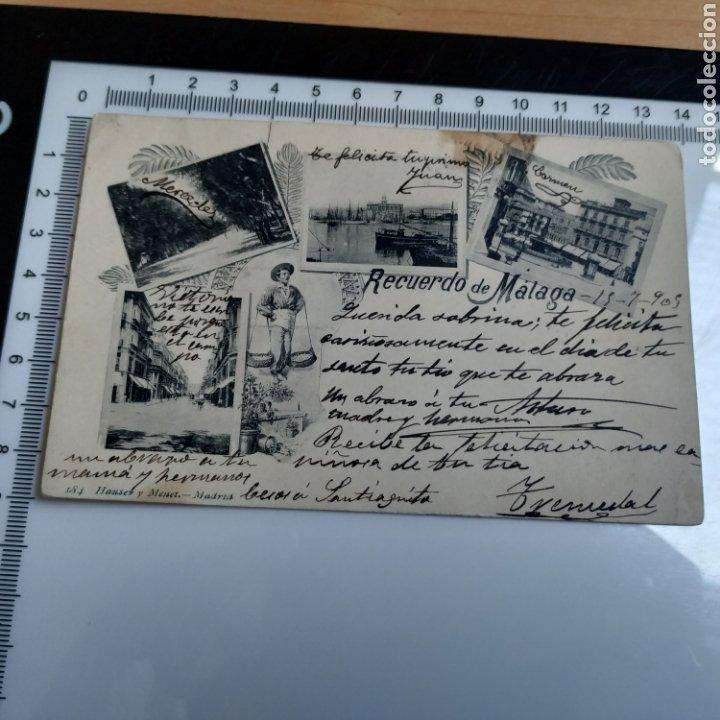 TARJETA POSTAL RECUERDO DE MÁLAGA 184 HAUSER Y MENET MADRID 1905 SELLADA (Fotografía Antigua - Tarjeta Postal)