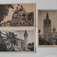 Fotografía antigua: 3 POSTALES DE VALENCIA CIUDAD . PABELLÓN DE LA FERIA CASTILLO CONDESA DE RIPALDA Y MIGUELETE.. Lote 214835253