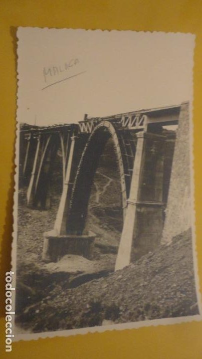 ANTIGUA FOTOGRAFIA.PUENTE DE HIERRO EN CONSTRUCCION.MALAGA. (Fotografía Antigua - Tarjeta Postal)