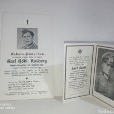 Fotografía antigua: 2 STERBILDER GRAN FORMATO CARTA DE LA MUERTE WEHRMACHT GERMANY NAZI TERCER REICH ESVÁSTICA. Lote 221960467