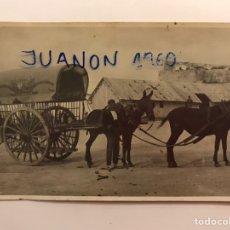 Fotografia antica: ALMAZORA - ALMASSORA (CASTELLÓN) FOTOGRAFÍA ANTIGUA. CARRO Y CABALLOS EN ZONA DE CARGA (H.1920?). Lote 224246006