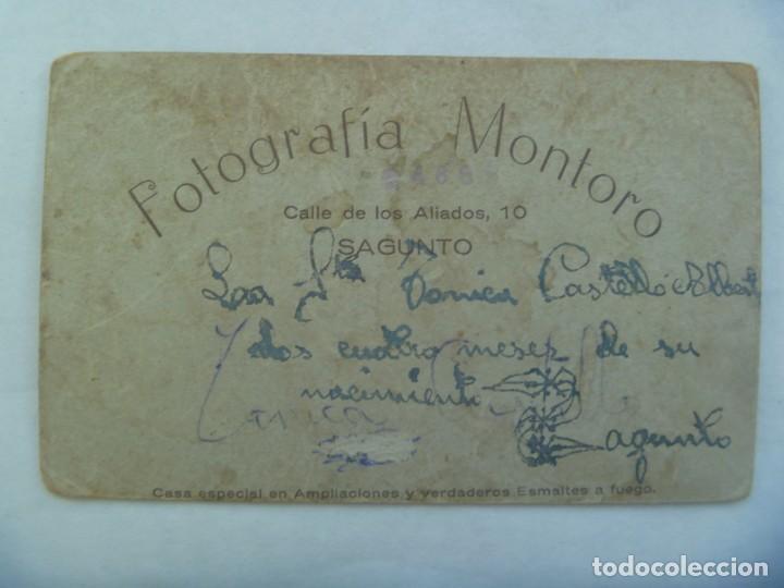 Fotografía antigua: PRECIOSA FOTO DE ESTUDIO DE BEBE TAL SE VE , PRINCIPIOS DE SIGLO. DE MONTORO, SAGUNTO - Foto 2 - 226134261