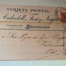 Fotografía antigua: EXTRAORDINARIA TARJETA POSTAL CIRCULADA AULADELL FORT Y NEGRE, BARCELONA 1899 RARISIMA. Lote 231143635
