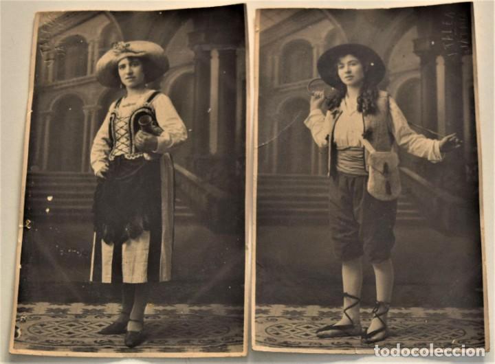 DOS POSTALES ANTIGUAS DE MUJER CON DISFRAZ (¿CARNAVAL?) - FOTÓGRAFO V. TALENS DE JÁTIVA (VALENCIA) (Fotografía Antigua - Tarjeta Postal)