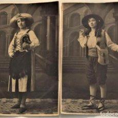 Fotografía antigua: DOS POSTALES ANTIGUAS DE MUJER CON DISFRAZ (¿CARNAVAL?) - FOTÓGRAFO V. TALENS DE JÁTIVA (VALENCIA). Lote 233580315