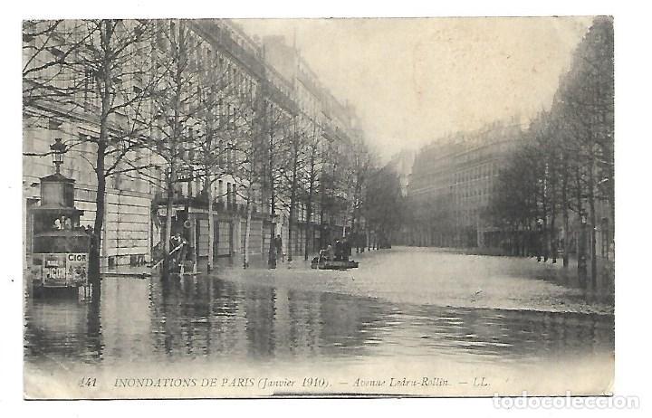 3501- PARIS.- INUNDACIONES 1910.-POSTAL ANTIGUA- AVENUE LEDRU-ROLLIN - DE 1910.CIRCULADA (Fotografía Antigua - Tarjeta Postal)