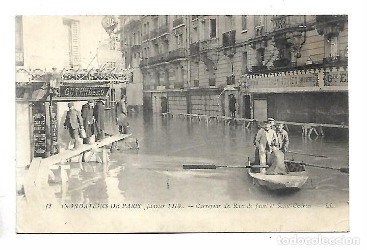3501- PARIS.- INUNDACIONES 1910.-POSTAL-CARREFOUR DES RUES DE JAVEL SAINT CHARLES - DE 1910.CIRCU. (Fotografía Antigua - Tarjeta Postal)