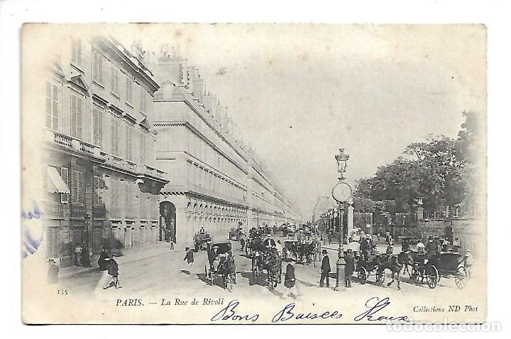 3501- PARIS.- POSTAL ANTIGUA DE L A RUE DE RIVOLI - CIRCULADA EN 1.903 - SIN DIVIDIR (Fotografía Antigua - Tarjeta Postal)