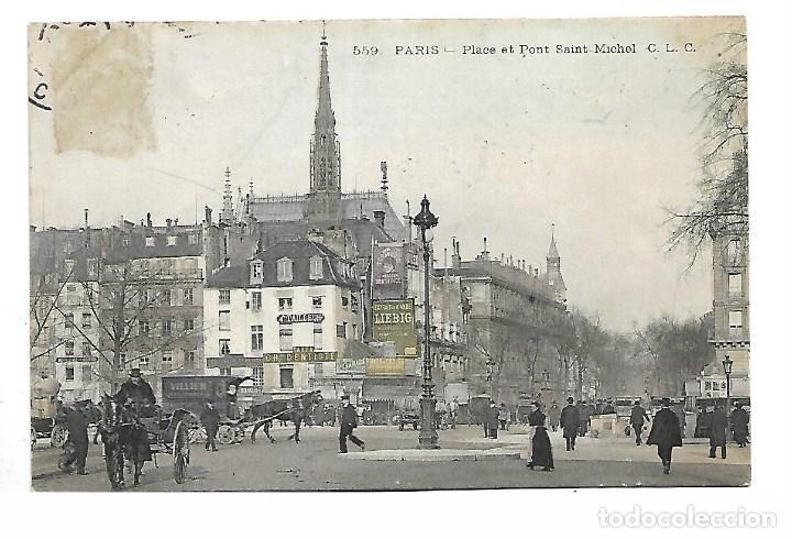 3501- PARIS.- POSTAL ANTIGUA. PLACE ET PONT SAINT MICHEL- CIRCULADA (Fotografía Antigua - Tarjeta Postal)