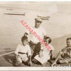 Fotografía antigua: SANLUCAR DE BARRAMEDA, AÑOS 20, ESCENA DE PLAYA, 14X9 CMS. Lote 254973790