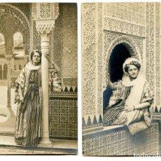 Fotografia antica: SEÑORITA VESTIDA DE MORA CON EN ESCENARIO DE LA ALHAMBRA. LINARES, GRANADA DOS POSTALES FOTOGRÁFICAS. Lote 257323380