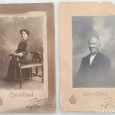 Fotografía antigua: LOTE DOS RETRATOS HOMBRE Y MUJER CONTRA-POSTAL J. DERREY - VALENCIA. Lote 275259198