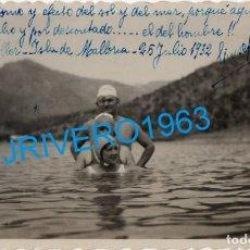Fotografía antigua: PALMA DE MALLORCA, 1932, PLAYA DE SOLLER, 14X9 CMS. Lote 289535143