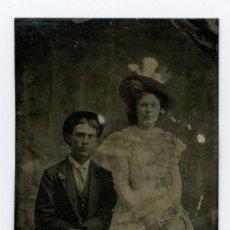 Fotografía antigua: FERROTIPO. PAREJA JOVEN. AUTOR DESCONOCIDO. CIRCA 1875.. Lote 14638949