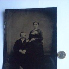 Fotografía antigua: FERROTIPO PAREJA PLACA ENTERA BUENA CALIDAD Y DETALLE CIRCA 1880. Lote 27801162