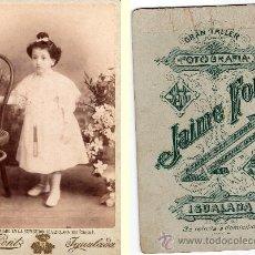 Fotografía antigua: JAIME FONT, FOTÓGRAFO DE IGUALADA, BARCELONA, PREMIADO EN LA EXP. DE STA. CLARA 1889, CUBA. Lote 32532163