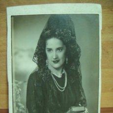 Fotografía antigua: MUJER CON MANTILLA FOTOGRAFIA 23 X 17 - FOTO JARKE - ZARAGOZA. Lote 37273058
