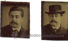 2 PEQUEÑOS FERROTIPOS DEL MISMO PERSONAJE Y EL MISMO DIA CON O SIN SOMBRERO. CA.1870. 2 X 2,5 CM. (Fotografía Antigua - Ambrotipos, Daguerrotipos y Ferrotipos)