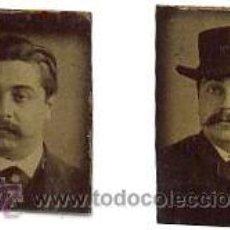 Fotografía antigua: 2 PEQUEÑOS FERROTIPOS DEL MISMO PERSONAJE Y EL MISMO DIA CON O SIN SOMBRERO. CA.1870. 2 X 2,5 CM.. Lote 38585643