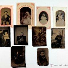 Fotografía antigua: 10 FERROTIPO - TINTYPE . DIFERENTES TAMAÑOS. S.XIX. COLECCIÓN, NIÑOS.. Lote 225040360