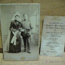 Fotografía antigua: BODA DE SOLDADO ALEMAN Y MENU DE BANQUETE DE BODAS - AÑO 1913. Lote 40754234