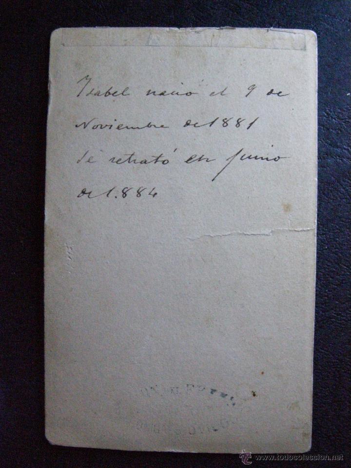 Fotografía antigua: Bonita Fotografia de Isabel - Foto Junio 1884 - Ver fotos - Ver reverso - Foto 2 - 41085429