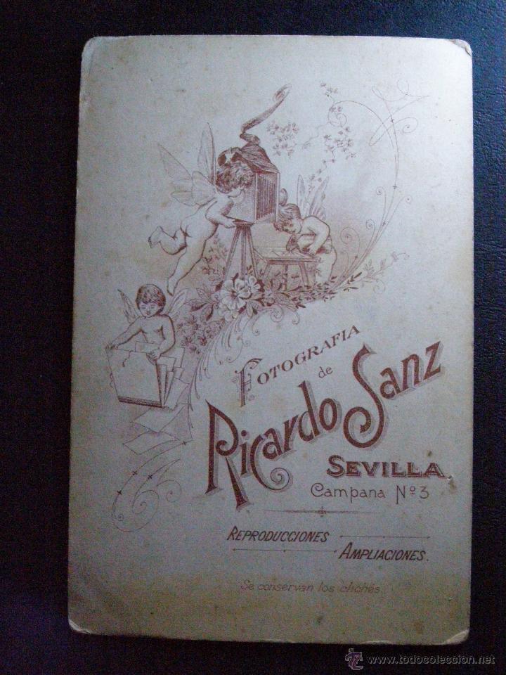 Fotografía antigua: Muy antigua, bonita y original fotografia - Fotógrafo Ricardo Sanz - Campana, 3 - Sevilla - - Foto 2 - 41089927
