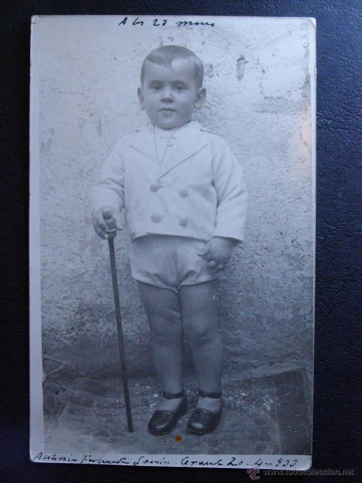 MUY ANTIGUA FOTOGRAFIA - ANTONIO A LOS 23 MESES - 1933 - (Fotografía Antigua - Ambrotipos, Daguerrotipos y Ferrotipos)
