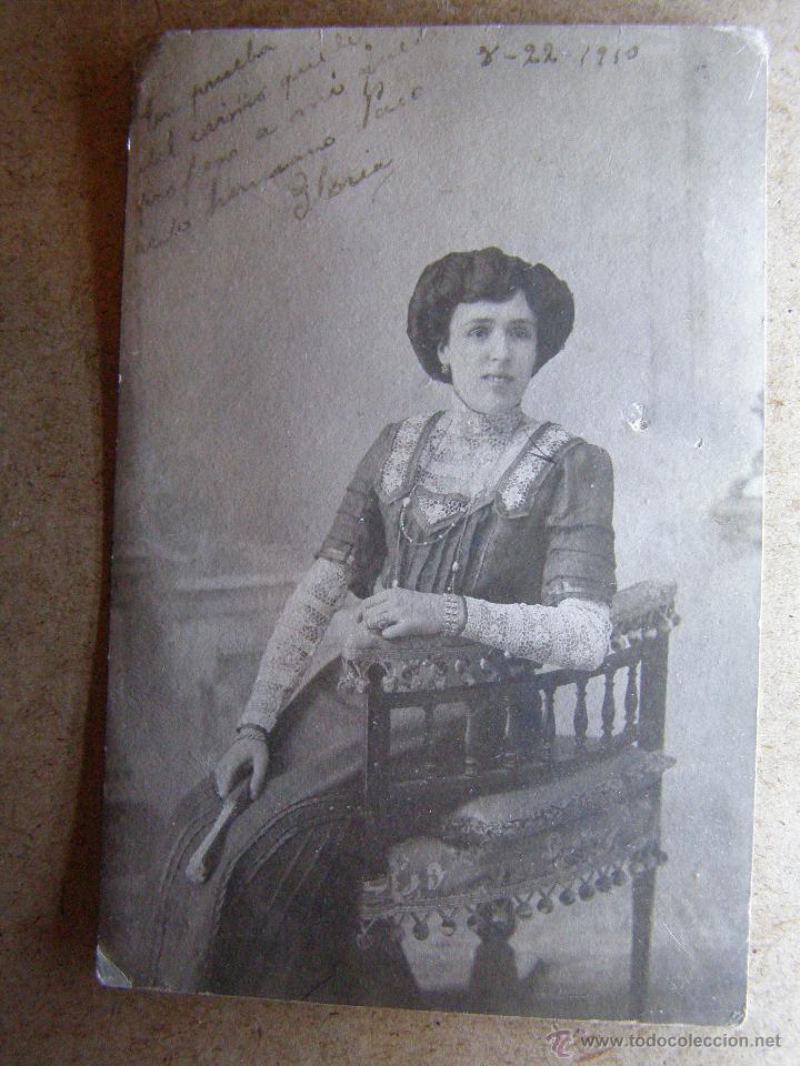 MUY ANTIGUA FOTOGRAFIA - GLORIA - DEDICADA A SU HERMANO PACO - AÑO 1910 - (Fotografía Antigua - Ambrotipos, Daguerrotipos y Ferrotipos)