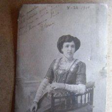 Fotografía antigua: MUY ANTIGUA FOTOGRAFIA - GLORIA - DEDICADA A SU HERMANO PACO - AÑO 1910 -. Lote 41147175