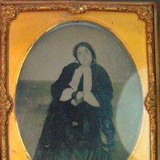 Fotografía antigua: FOTOGRAFO DESCONOCIDO. RETRATO POSTMORTEN AMBROTIPO DE GRAN TAMAÑO.11,5 X 9 CM. 1850 – 1860 . Lote 43779195