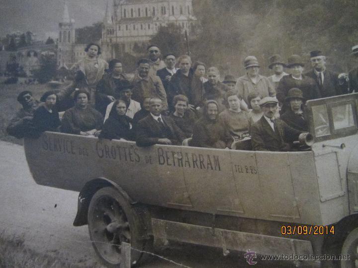 ANTIGUA FOTOGRAFIA DE AUTOBUS DESCAPOTABLE DEL SERVICIO GROTTES DE BETHARRAM - AÑO 1930S. (Fotografía Antigua - Ambrotipos, Daguerrotipos y Ferrotipos)