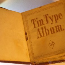Fotografía antigua: TINTYPE ALBUM ANTIGUO ALBUM DE FERROTIPOS GEM . Lote 46408884