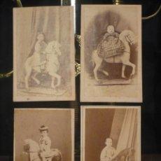 Fotografía antigua: LOTE DE 4 FOTOS INFANTILES A CABALLO, FOTOGRAFOS DE BARCELONA S. XIX, NAPOLEON Y GARRIGA. 1860-1880. Lote 46807169