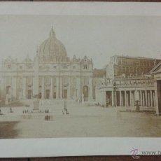 Fotografía antigua: PAPEL A LA SAL O CALOTIPO POSITIVO. ROMA. PLAZA DE SAN PEDRO. MEDIDAS 21,50 X 31 CM (SÓLO FOTO). Lote 48444335