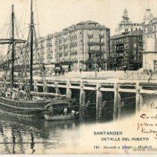 Fotografía antigua: POSTAL ANTIGUA SANTANDER-DETALLE DEL PUERTO. Lote 49915084