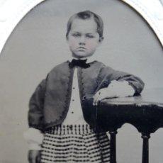 Fotografía antigua: COLODION TINTIPO FERROTIPO 1/6 PLACA 1870 1890 SIGLO XIX MIDE APROX 60MM X 90MM. Lote 50208552