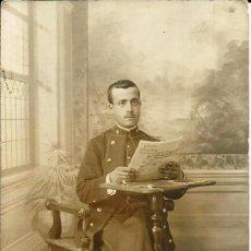 Fotografía antigua: FOTOGRAFÍA DE UN MILITAR, *LA MADRILEÑA* -VALLADOLID-.. Lote 56571240