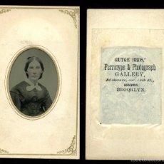 Fotografía antigua: FERROTIPO COLOREADO DEL FOTÓGRAFO: GUTGE BROS NUEVA YORK (BROOKLYN) CA 1860-1880 USA. Lote 57044228