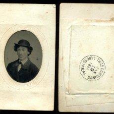 Fotografía antigua: FERROTIPO TIPO CDV FECHA DORSO 1869 FOTÓGRAFO THOMAS CUMMINGS USA. Lote 57044482