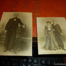 Fotografía antigua: 2 FOTOGRAFIAS DE CABALLERO Y PAREJA EN ESTUDIO, 14 X 10 Y 11 X 9 CM.. Lote 58440168
