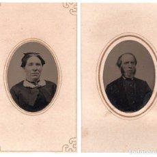 Fotografía antigua: 2 FERROTIPO AMERICANOS TIPO CDV COLOREADO A MANO 1870-1879 PAREJA. Lote 64486719