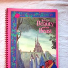 Cuaderno libreta tamaño folio hojas cuadriculadas La bella y la bestia. Disney. Ambar. Años 90.Nuevo
