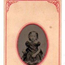 Fotografía antigua: ANTIGUA FOTOGRAFIA ,FERROTIPO,NIÑA, 10.5 X 5.5 CM.. Lote 74202963