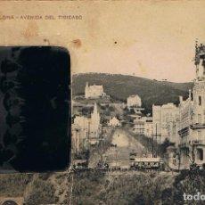 Fotografía antigua: FERROTIPO.GRUPO EN PIÑA DE SEIS AMIGOS. CA.1906-1910. AVENIDA DEL TIBIDABO. BARCELONA.. Lote 75111239